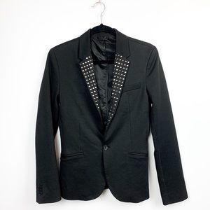 Zara Long Sleeve Studded Black Blazer